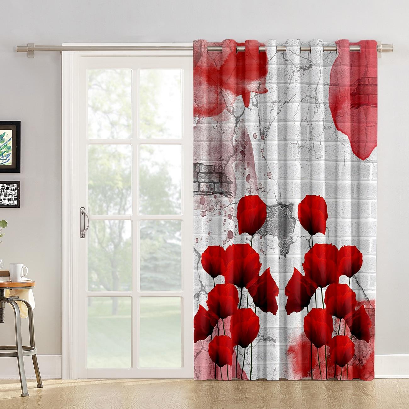 poppy flower room curtains large window living room kitchen drapes indoor window treatment ideas window curtain panels