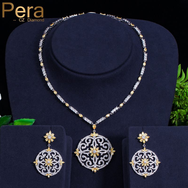 Pera Newest Big Vintage Hollow Out Design Yellow Cubic Zircon Round Drop Pendant Necklace And Earrings