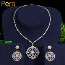 Pera Newest Big Vintage Hollow Out Design Yellow Cubic Zircon Round Drop Pendant Necklace And Earrings Set For Luxury Women J199
