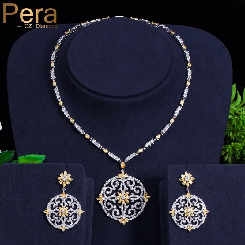 Pera date grand Vintage évider conception jaune cubique Zircon rond pendentif collier et boucles d'oreilles ensemble pour les femmes de luxe J199