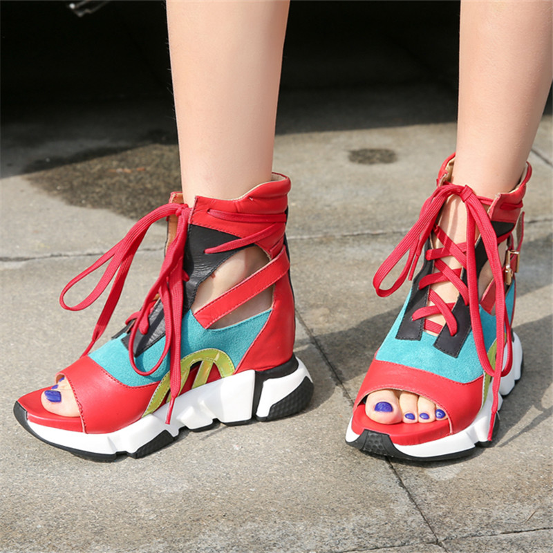 Jady Rose Fashion Hollow Out Women Sandals Platform Shoes Woman Height Increasing Gladiator Sandal Lace Up Summer Boots WedgesJady Rose Fashion Hollow Out Women Sandals Platform Shoes Woman Height Increasing Gladiator Sandal Lace Up Summer Boots Wedges