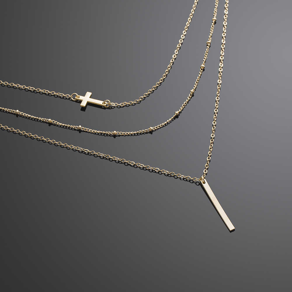 KISSWIFE copper beads chain alloy cross metal rod 3 layer Set Pendant Necklaces Bohemian jewelery
