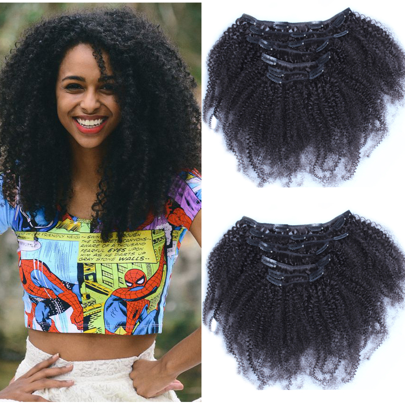 Kinky Curly Clip In Human Hair Extensions 7A Peruvian Clip Hair Extensions Remy Clip In Human Hair Extensions For Black Women