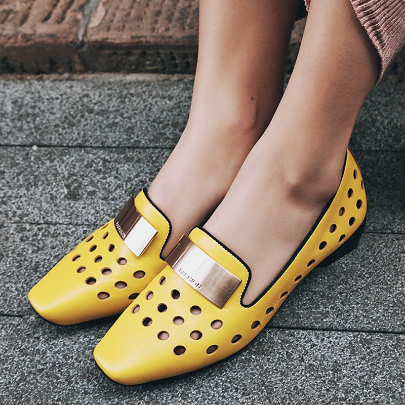 YMECHIC Fashion Lady Genuine Leather Hole Metal Low Block Heels Loafers Yellow Casual Women Shoes Summer