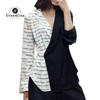 Женские Блузки Рубашки с длинным рукавом 2019 Весенняя мода с буквенным принтом Блузка с v образным вырезом Женская рубашка