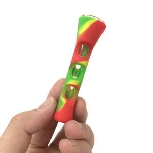 Image 2 - Horn Form FDA Silikon & Glas Rauchen Rohr Eine Schlag Einbaum Rohr Tabak Zigarette Rauch Rohr Zubehör