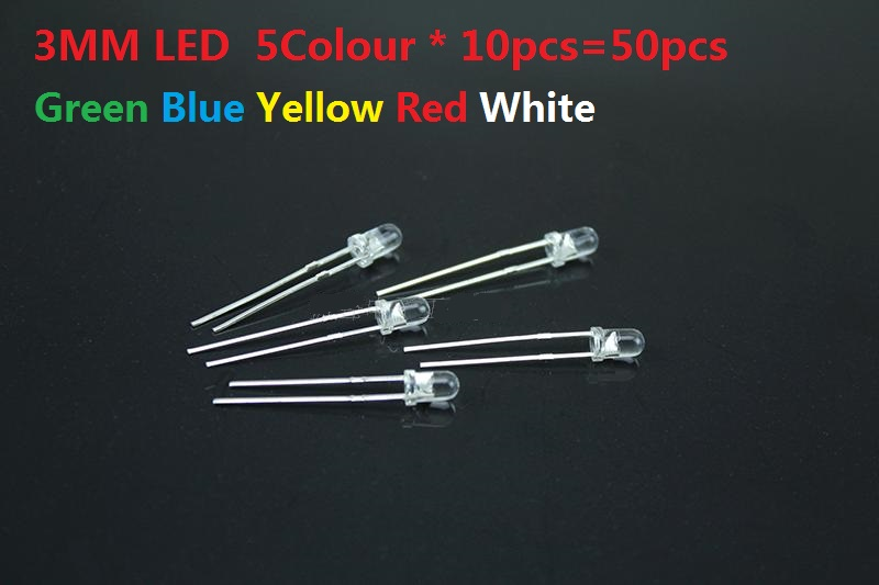 3MM LED Kit Set 5Colour * 10pcs=50pcs F3 Transparent Cove Green Blue Yellow Red White Assorted Pack DIY Assortment