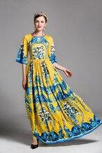 High quality brand designs retro print maxi dress summer runways flare sleeve bohemian dress fashion slim vintage dress E344