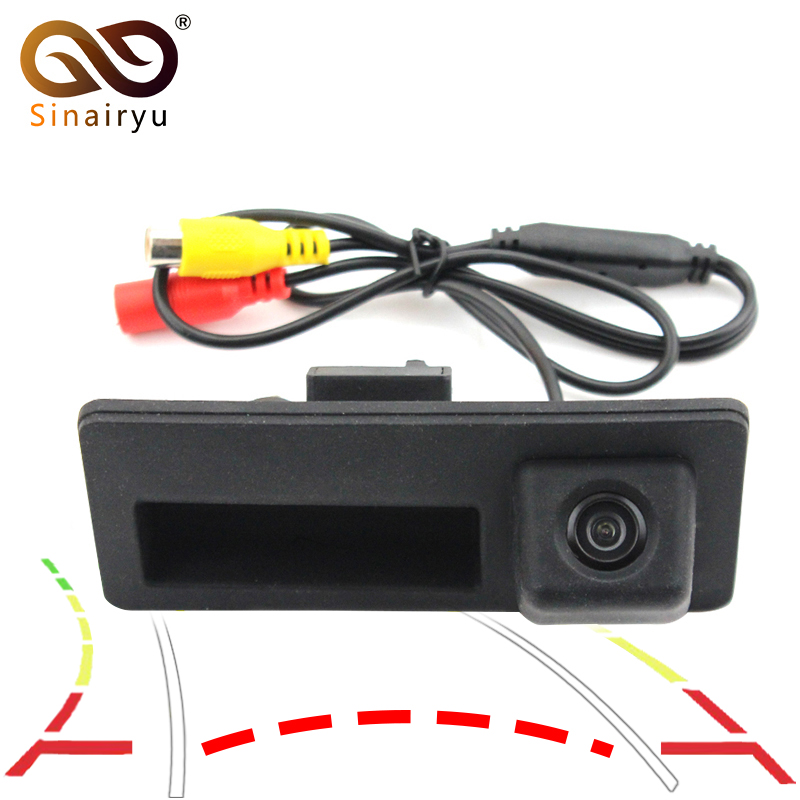 Dynamic Trajectory Parking Line Car Rear View Trunk Handle Camera For Audi A4 A6 VW Passat Golf Touran Jetta Touareg Sharan