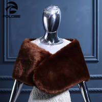Brown Faux Fur Shawls Simple Wedding Women Shawls Warm Winter Evening Party Wraps Bridal Bolero Pashmina Wedding Bridal Wraps