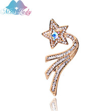 Miss Lady Rose Gold color Zircon Crystal Luxury Full drill five-pointed star Meteor Brooches Fashion Jewelry for women MLY5763