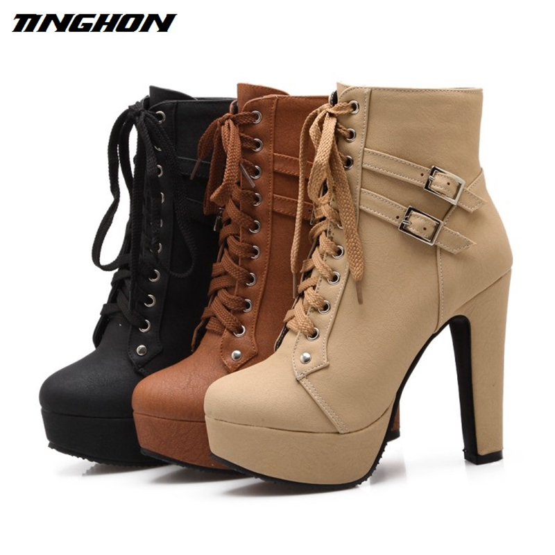 TINGHON 2017 Autumn Winter Women Ankle Boots High Heels Lace Up Leather Double Buckle Platform Short Boot autumn winter women ankle boots high heels lace up leather double buckle platform short booties new ankle motorcycle combat boot