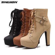 TINGHON 2018 Autumn Winter Women Ankle Boots High Heels Lace Up Leather  Double Buckle Platform Short 1fd23f25e2f6