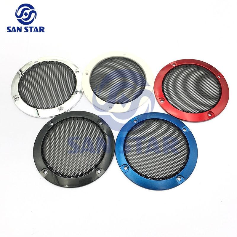 3-дюймовый динамик с черной металлической сеткой и наружным кольцом, цветной серебристый пластик, защитная крышка динамика, 10 шт.