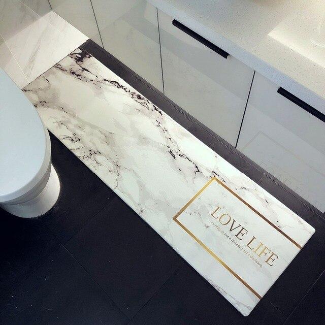 US $22.0 6% OFF|Nordic stil einfache PVC PU pflanzen gedruckt teppich tür  matte rectange marmor gedruckt boden teppich küche teppich non slip anti öl  ...