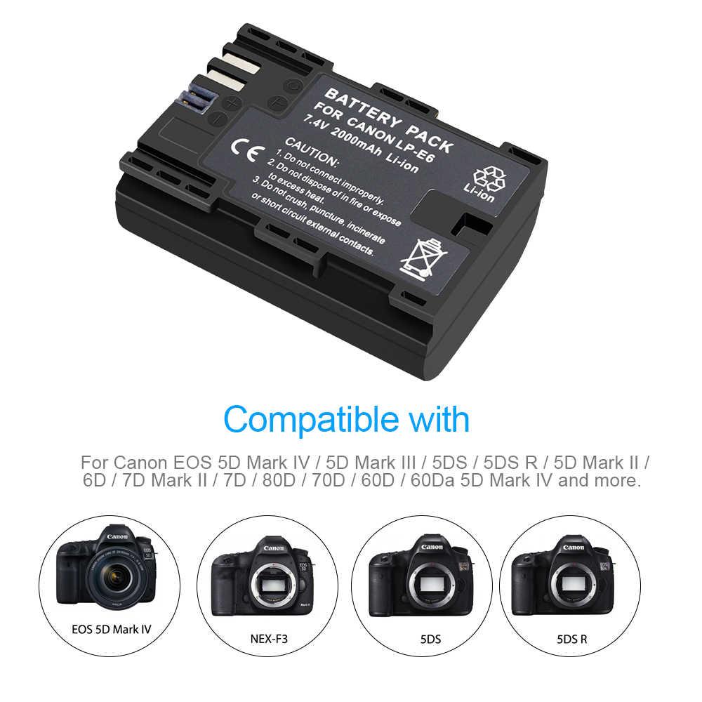 2X LP E6 LPE6 LP-E6 E6N Pin 2000 MAh + Tặng Màn Hình LCD Sạc Đôi Cho Canon EOS 5DS R 5D Mark II 5D Mark III 6D 7D 80D EOS 5DS R Camera