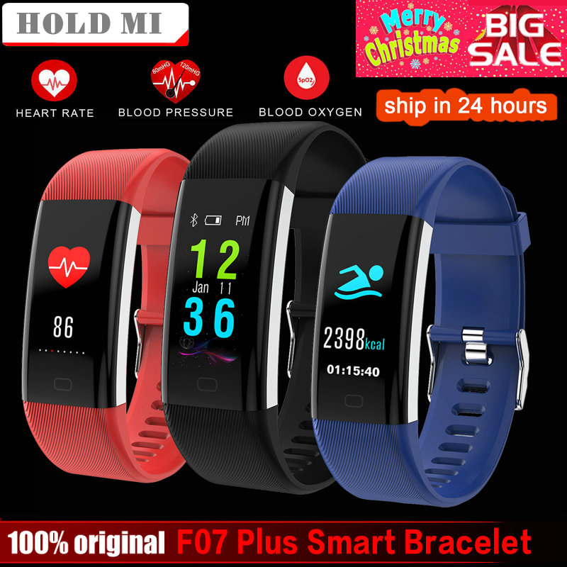 Espera Mi F07 Plus banda inteligente pantalla a Color IP68 impermeable corazón pulsera presión arterial Monitor de oxígeno inteligente banda