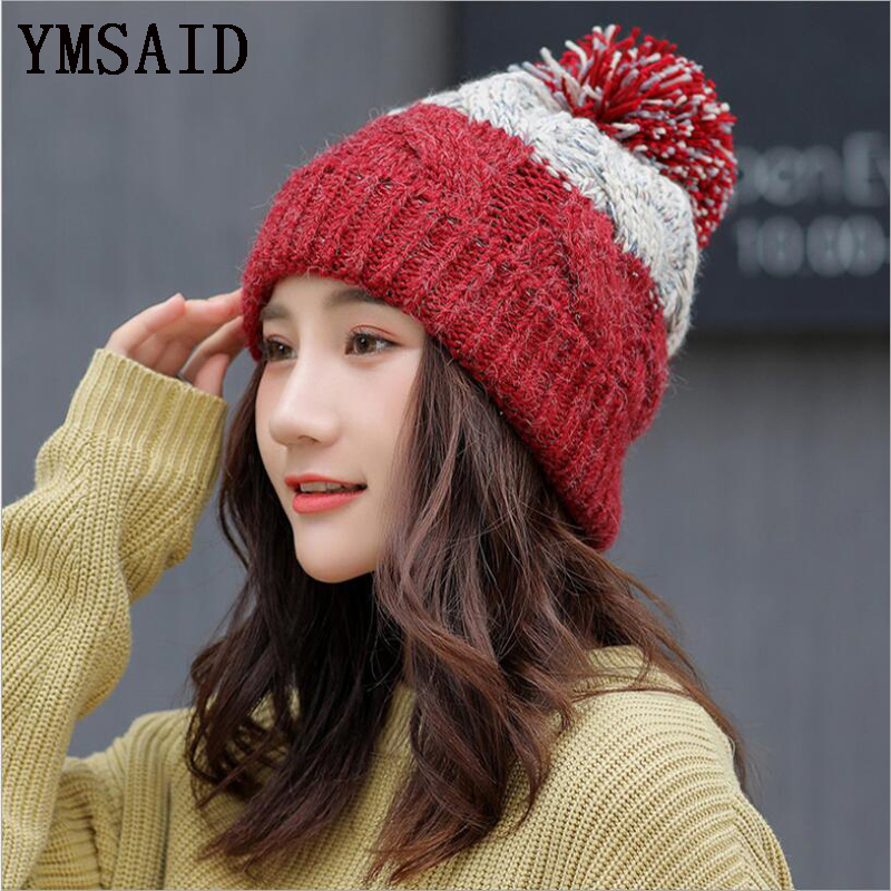 Fashion   Skullies     Beanies   For Girls Bonnet Cap Women's Pompoms Hat Ladies Thick Warm   Skullies     Beanies   Winter Knitted Hat Female