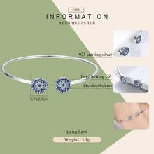 Lucky Blue Eyes 925 Sterling Silver Open Cuff Bracelet Jewelry