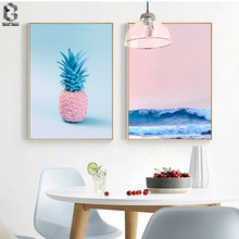 Pink Pineapple Wall Art Poster and Print Nordic Canvas Paintings Sea Pictures for Living Room Decoration