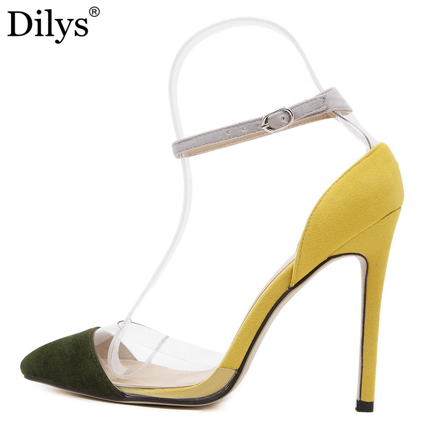 2016 Fashion New Women Pointed Toe 11cm High Heels Shoes Mixed Colors Transparent PVC Sweet Yellow Woman Pumps Zapatos Mujer US9 7 colors new sexy women pumps shoes high heels tacon alto bride wedding zapatos mujer pointed toe sweet bowtie women shoes