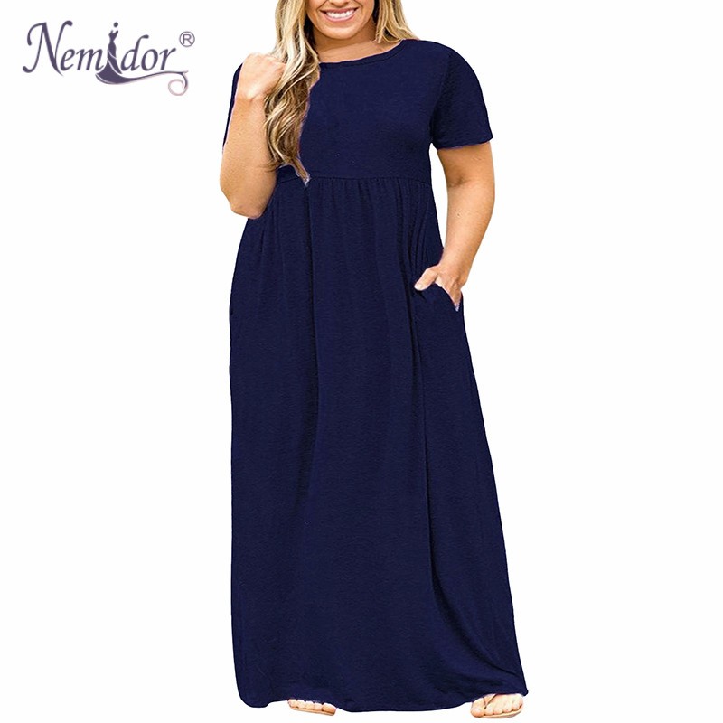 Nemidor 2018 Hot Sales Women O-neck Short Sleeve Long Summer Casual Dress Plus Size 7XL 8XL 9XL Vintage Maxi Dress With Pockets  5