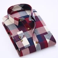Spring Autumn 2016 Men S Long Sleeve Brushed Flannel Shirt Slim Fit Comfort Soft Cotton Blend