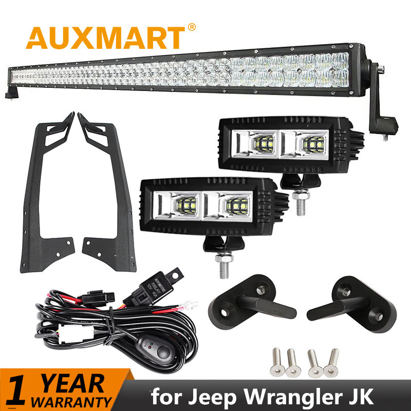 Auxmart LED Light Bar for Jeep Wrangler 2007~2017 Straight 5D 50 864W LED Work Light Bar 4 36W/18W Fog Driving +Mounts Bracket left hand a pillar swith panel pod kit with 4 led switch for jeep wrangler 2007 2015