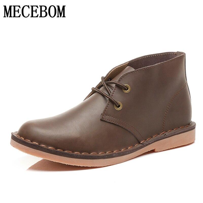 Men's desert boots new autumn genuine leather men shoes comfort lace up ankle boots botas zapatos masculino size 38 44 lb807m