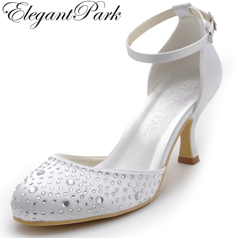 EP2126 Women Pumps White Round Toe Rhinestone Ankle Strap high Heel Satin Bridal Wedding Shoes fashion white elegant stiletto heel toe with rhinestone wedding bridal shoes platforms comfortable pumps round toes