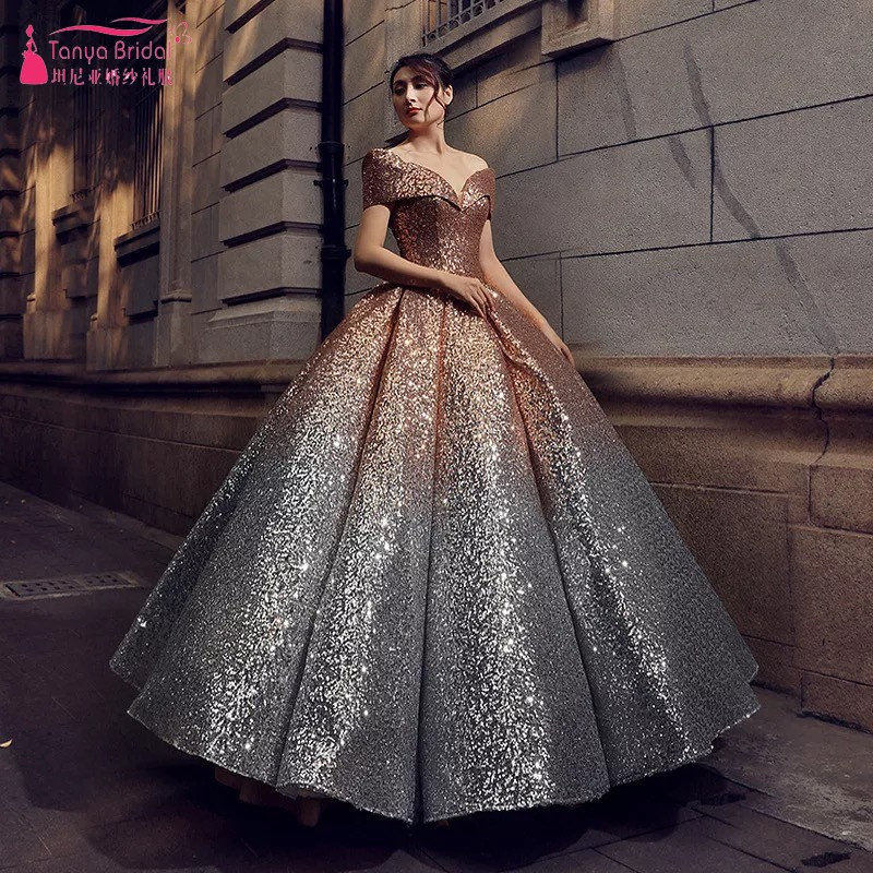 Ball Gown Gold Slivery Sequins Evening Dresses Short Sleeves Contrast Color New Fashion Prom Gown DQG470
