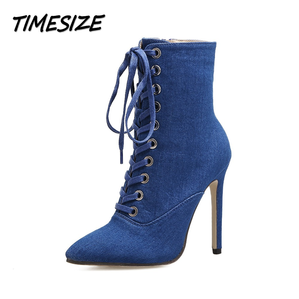 TIMESIZE Autumn Winter Women Ankle Short Boots Shoes Woman Fashion Pointed Toe Lace Up Side Zipper Denim Gladiator Boots enmayer winter woman boots pointed toe lace up shoes winter warm boots black red 2017 new fashion shoes ankle boots big size