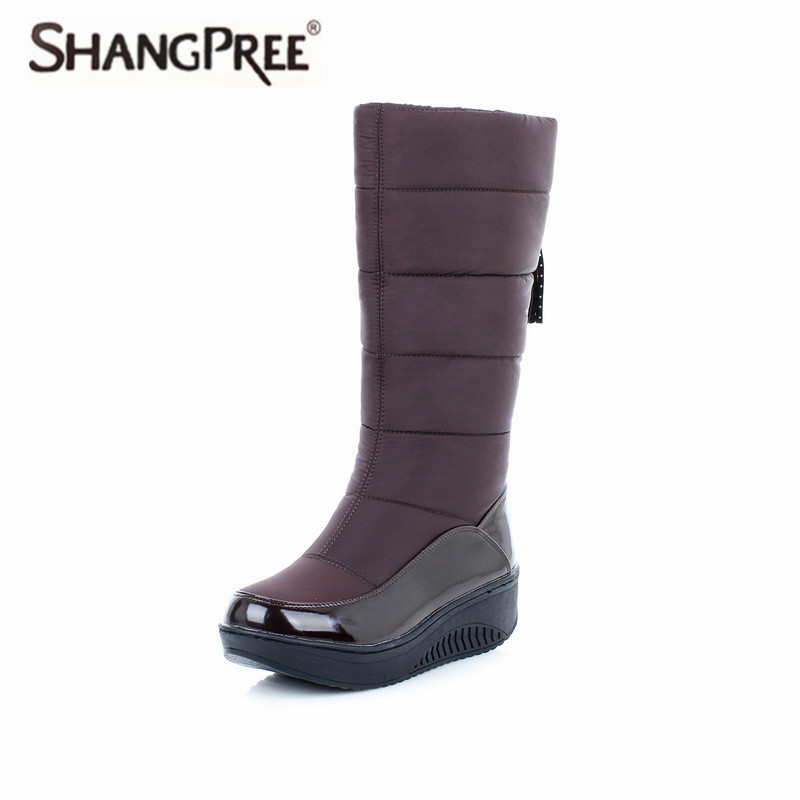 2018 New Women Mid Calf Plush Boots Wedge Med Heel Round Toe Winter Shoes Women band Ladies Snow Boots Winter Warm Shoes nayiduyun women genuine leather wedge high heel pumps platform creepers round toe slip on casual shoes boots wedge sneakers