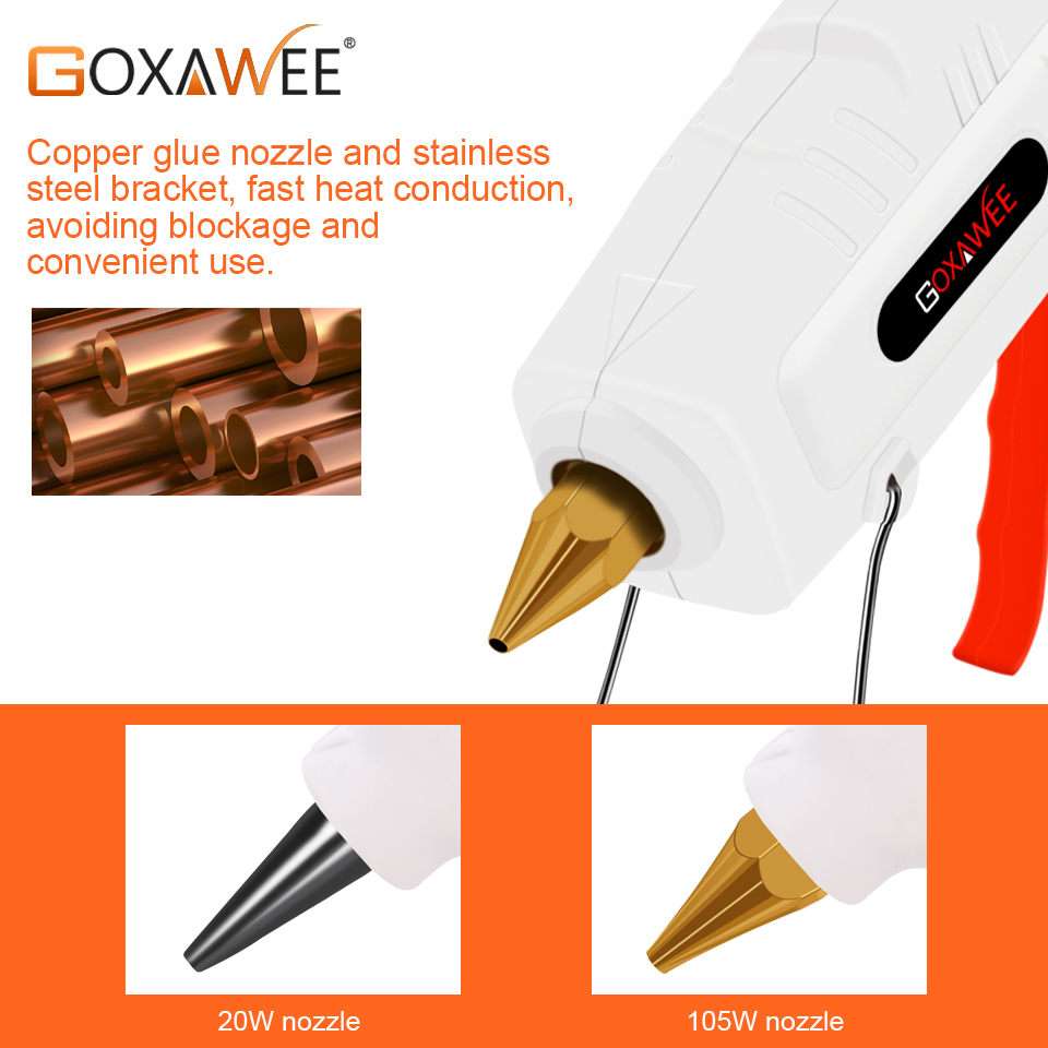 Image 3 - GOXAWEE 34pcs Hot Melt Glue Gun Set Mini Electric Professional DIY High Temp Heat Melt Repair Tool With Hot Melt Glue Sticks-in Glue Guns from Tools on