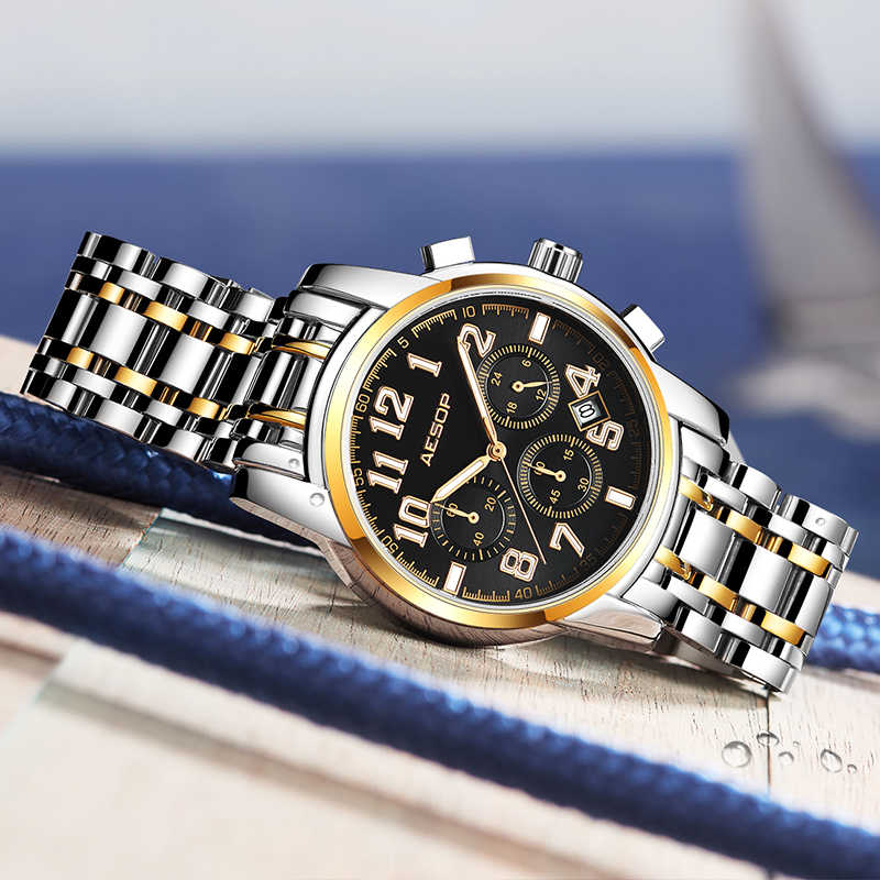 AESOP Sport męskie zegarki kwarcowe zegarek męski zegarek ze stali nierdzewnej męski zegar męskie zegarki na rękę wodoodporny Relogio Masculino