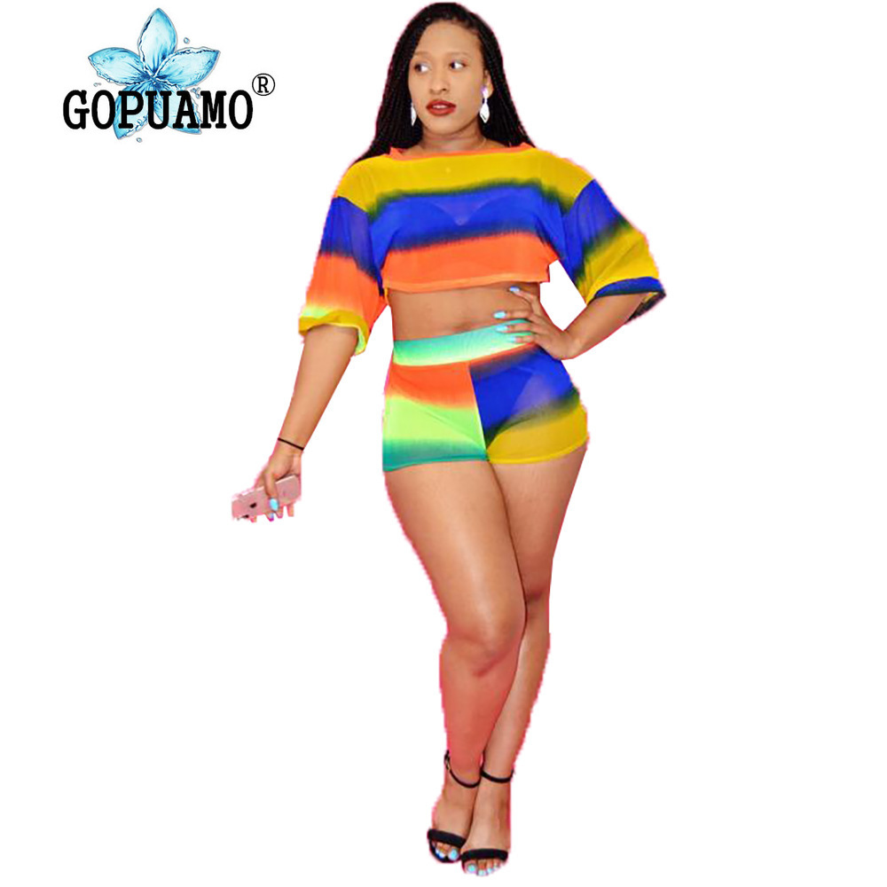 GOPUAMO Sexy 2 Piece Gradient ColorOutfits For Women One Shoulder Half Sleeve
