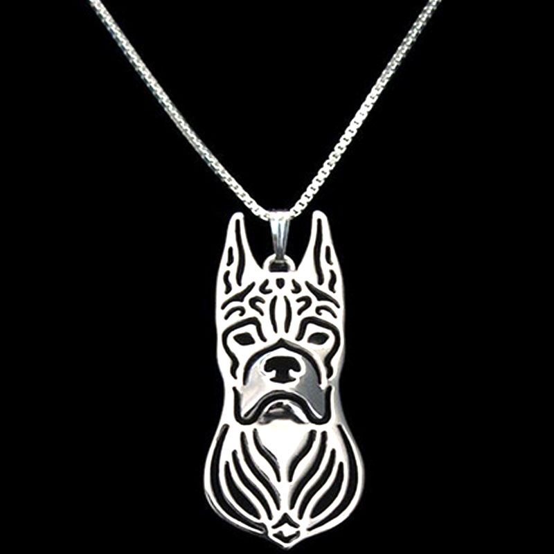 Boxer Animal Necklaces Cartoon Dog Pendant Silver Plated Charm Christmas Gifts For Pet Lovers Dog Jewelry Store 10pcs