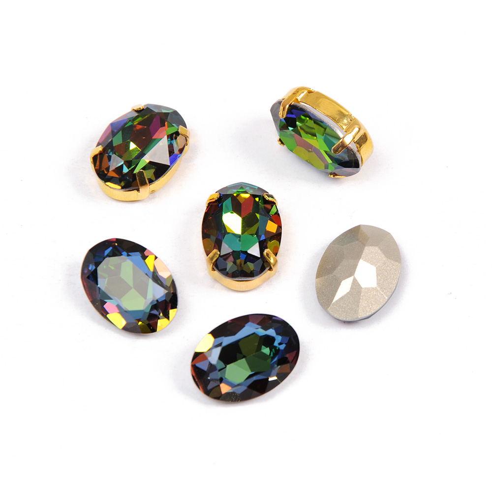 001VM Rainbow Glass Crystals pointed back Rhinestone Sew On Holes Oval Fancy Shape Strass Stones For Clothes Dress Crafts in Rhinestones from Home Garden