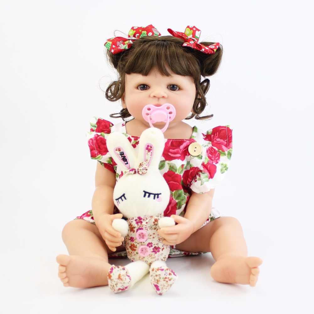 55cm Corpo Cheio de Silicone Bebê Reborn Boneca de Brinquedo Para A Menina Vinil Princesa Recém-nascidos Bebês Bebe Banho de Acompanhamento de Aniversário Brinquedo presente