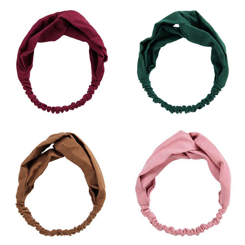 Flannel Cloth Dark Green Red Pink Brown Turban Headband Headwear Hair Accessories For Women