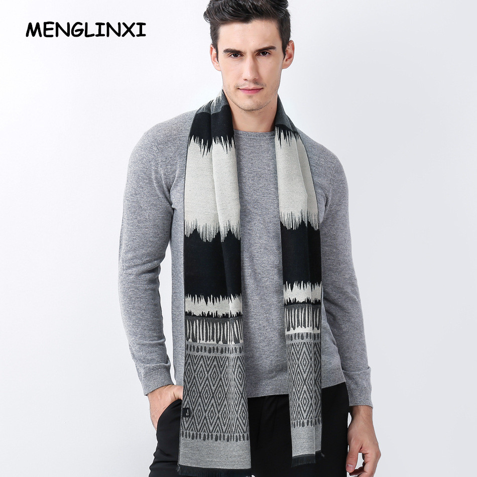 Luxury Brand Cashmere Scarf Men Autumn Winter Warm Scarf Fashion Design Wavy Lines Man Bussiness Casual Scarves