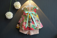 FANAIDENG Summer Toddler Kids Baby Girls Clothes Sets Floral Chiffon Polka Sleeveless T-shirt Tops+Shorts Outfits