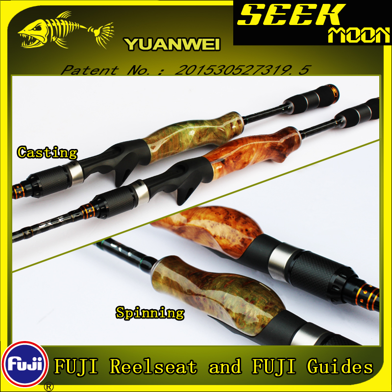 YUANWEI 1 98m 2 1m Spinning Fishing Rod Casting Rod 2Sec ML M MH Wood Root