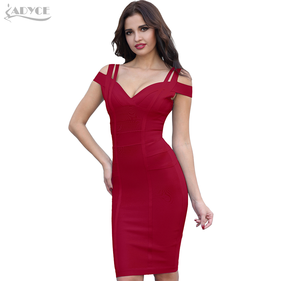 ADYCE Pembalut Pakaian Wanita Vestidos Verano 2018 Sexy V Neck Off Shoulder Selebriti Party Dress Sexy Club Bodycon Dresses Vestidos