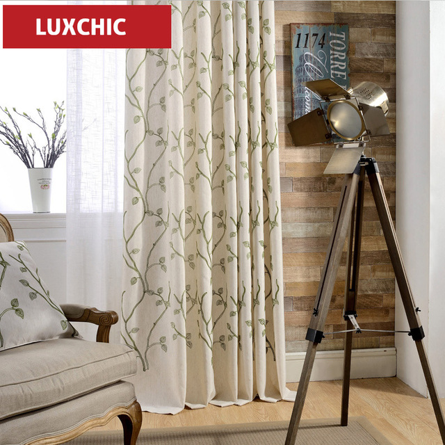 Fashion Stripe Rustic Curtain Yarn Bedroom Living Room: Rustic Floral Herb Printed Linen Curtains For Living Room