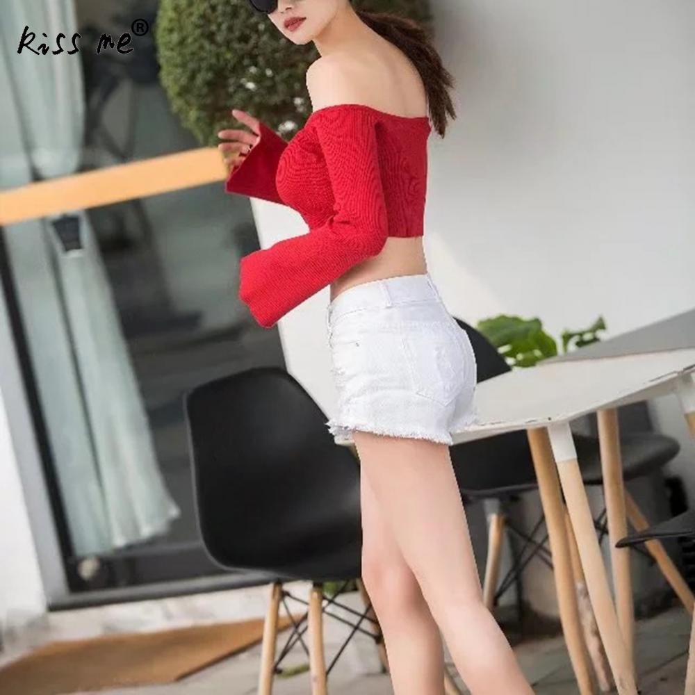 Summer Women Button Tshir Crop Top Women Long Sleeve Blouses Slimming Sexy Backless Off Shoulder Camisetas Mujer Verano 2018