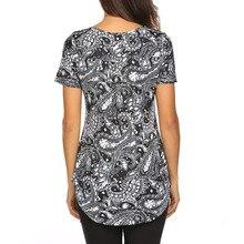 Black Print Short Sleeve V Neck Streetwear Tshirts For Women