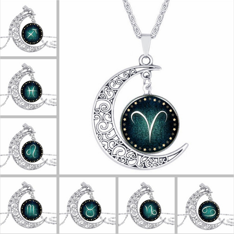 Aliexpress Com Buy 2 In 1 Constellations Pendant Amulet: Aliexpress.com : Buy Zodiac Pendant Necklace Glass