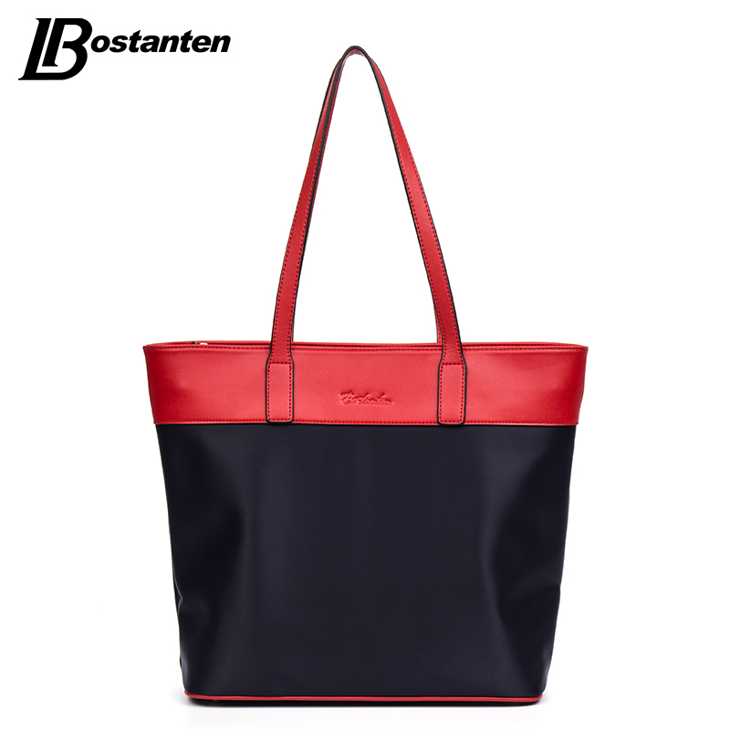 ФОТО Bostanten Hot Shoulder Bags Nylon Casual Tote Fashion Red/Brown Top Zipper Ladies Handbags Personalized Tote Bags Weekend Bag