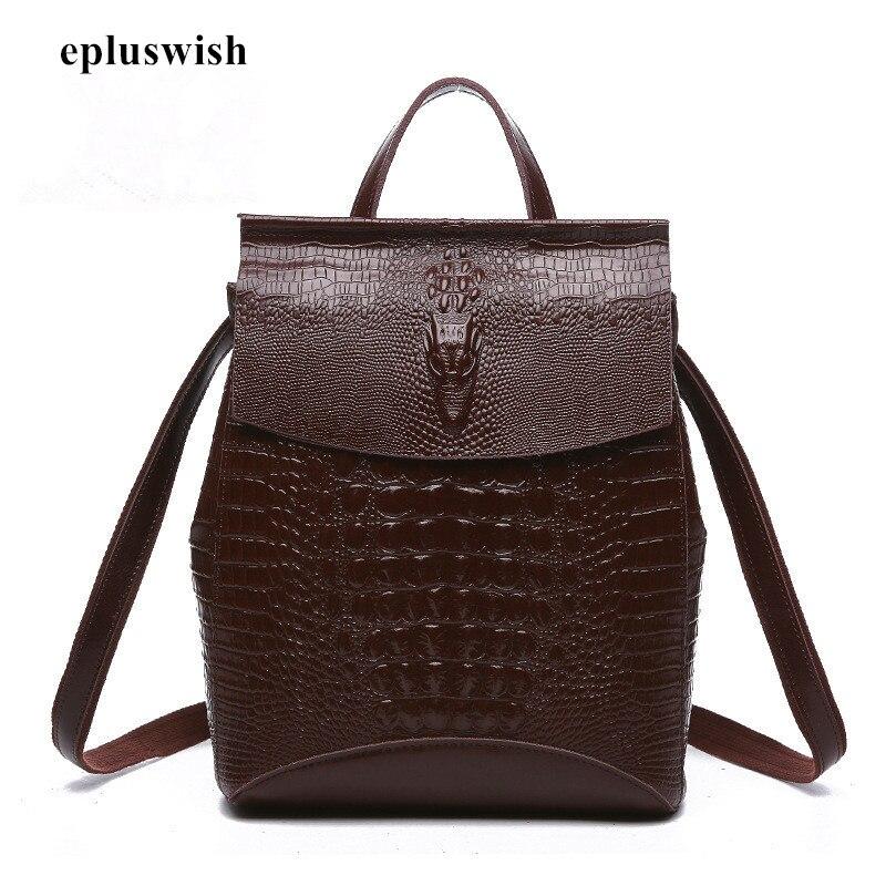 2018 Women Backpack Split Leather Backpack Schoolbag for Girls Teenagers Shoulder Bag Female Large Capacity Backpack Crocodile